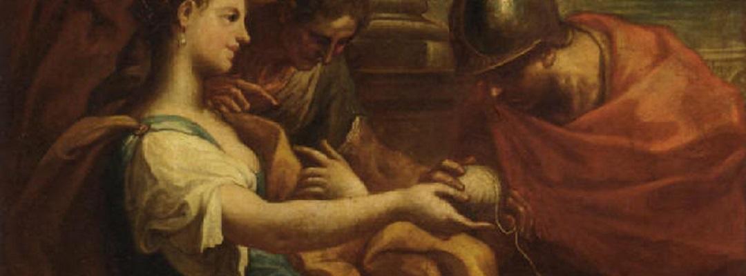 Ariadne übergibt Theseus den Ariadnefaden