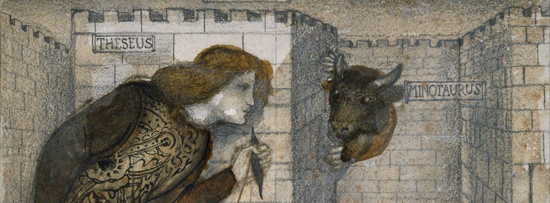 Minotaurus und Theseus im Labyrinth